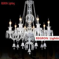 Regron Luxury Chandeliers Long Crystal Chandelier With Bells Shining Hanging Luminary For Living Room Hotel Foyer Parlor Lounge