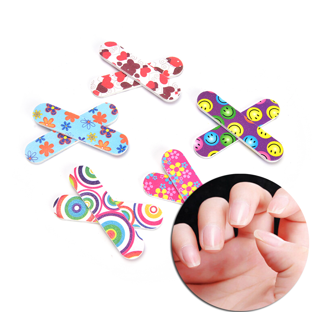 Buy 10Pcs Mini Salon Manicure UV Gel Pedicure Buffer Double Sided Sandpaper Nail Files Polisher Art Care Buffing for only 1.9 USD