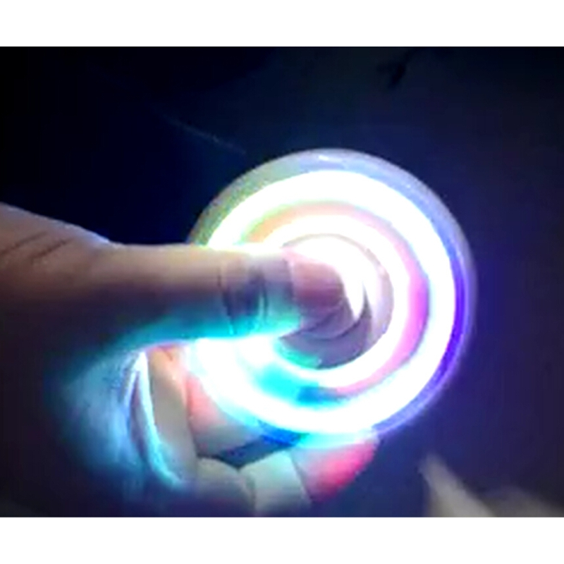 Hot !!LED Light Hand Spinner Fidget Toy Plastic EDC Hand Spinner For Autism and ADHD Glowing [7.5cm*7.5cm] Kid/Adult  Funny Toy
