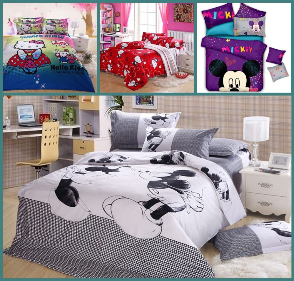 cotton queen size hello kitty mickey mouse and minnie comforter home textile bedding sets duvet. Black Bedroom Furniture Sets. Home Design Ideas