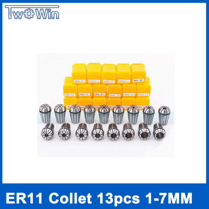 цена на 13Pcs ER11 Collet chuck cnc Spindle ER11 Collet lathe tool holder Pinza ER11 Collet set from 1-7MM for CNC milling lather tool