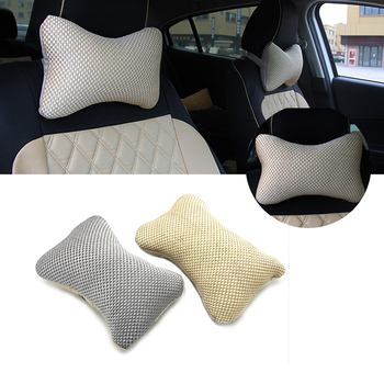 JEAZEA 1PC Car Acc Interior Breathable Ice Silk Headrest Neck Protect Pillow Pad For Audi BMW VW Toyota Ford Nissan Kia image