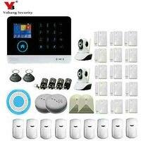 Yobangsecurity Беспроводной Wi Fi GSM охранная Охранной Сигнализации Системы видео ip Камера комплект дым своих детектор Стекло перерыв Сенсор