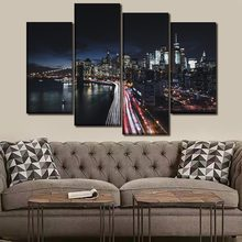 Canvas Paintings Wall Art HD Prints 4 Piece/1 Pcs New York Manhattan Cityscape Skyline Night Bridge Pictures Home Decor Poster(China)