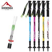 Free Ship Ski Poles Walking Sticks Telescopic Aluminum Trek Poles Bengala Hike Stick Crutch Wandelstok For