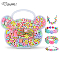 Children DIY Plastic Acrylic Bead Kit Girl Toys DIY Beaded Handmade Bracelet Amblyopia Training Color Puzzle Early Education Toy