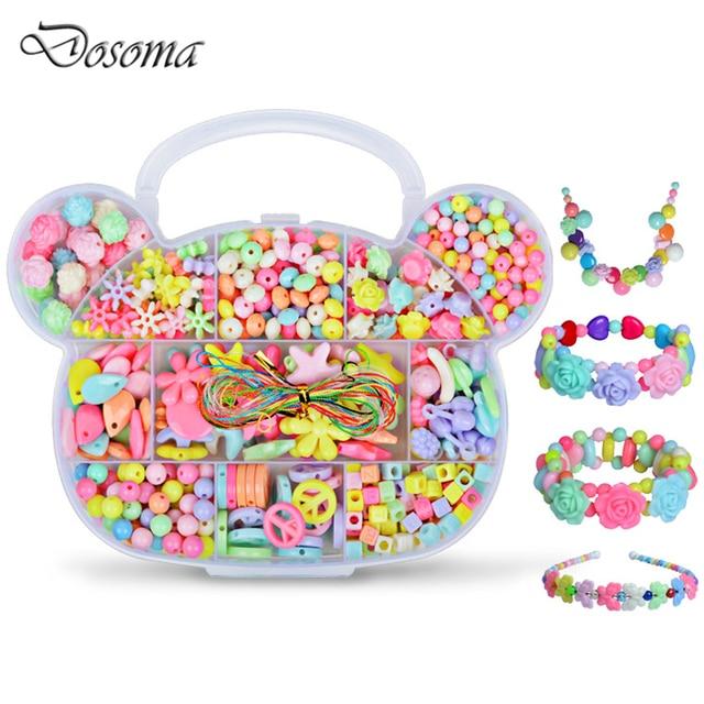 Children DIY Plastic Acrylic Bead Kit Girl Toys DIY Beaded Handmade Bracelet Amblyopia Training Color Puzzle Early Education Toy