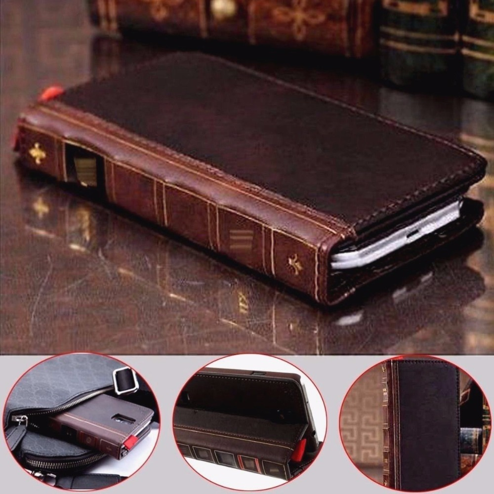 Retro Vintage Buch Für Samsung Galaxy Note8 S9 S8 S7 rand brieftasche Leder Fall Abdeckung Für S7Edge S8Plus S9Plus
