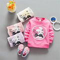2017 spring new wholesale foreign trade girls long sleeved T-shirt small rabbit cartoon pattern manufacturers foreign trade