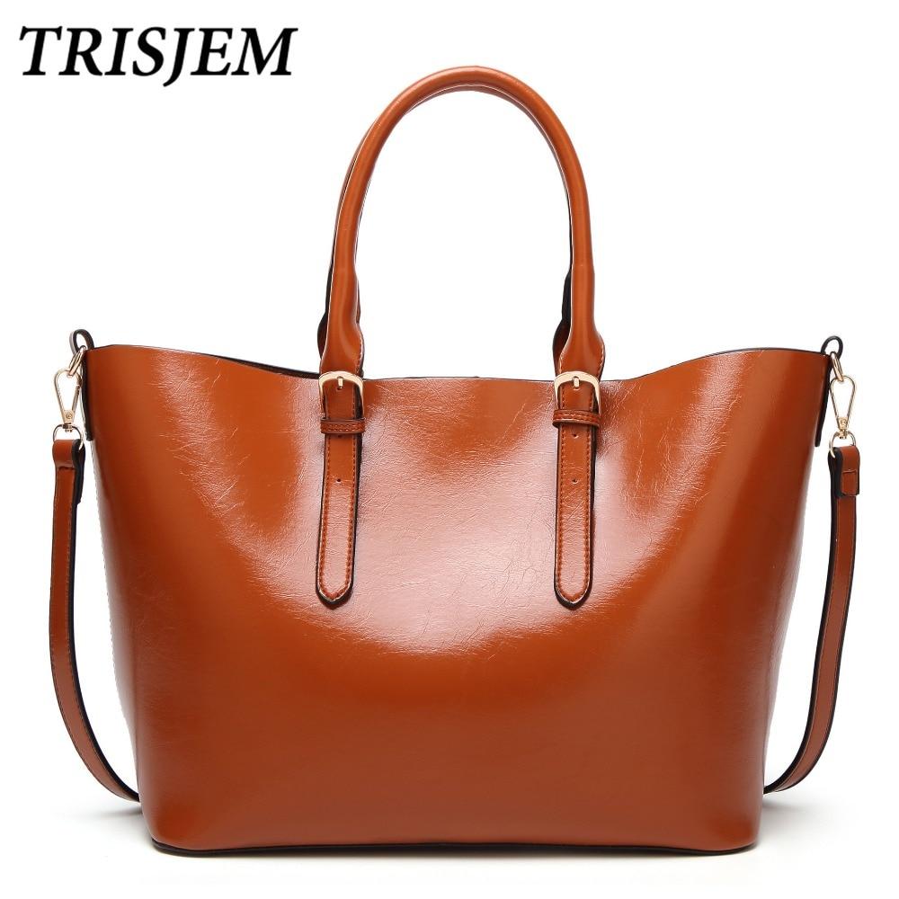 TRISJEM Women Leather Handbags Luxury Famous Brands Designer Shoulder Bags For Women 2018 Green Brown Crossbody Bags Sac a Main