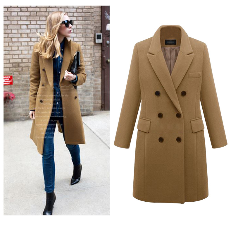 Women's new fashion autumn and winter large sizes coats and trenches with double breasted styles