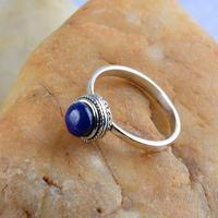 S925 Sterling Silver Silver Thailand Nepal hand inlaid natural Lapis Ring Ring special retro sweet