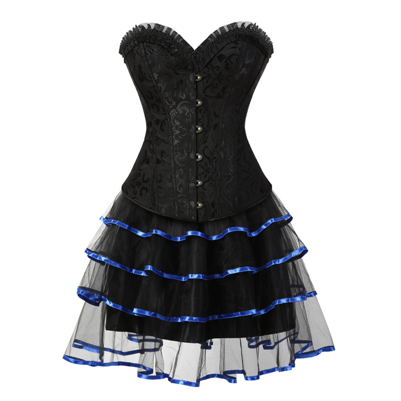 New Steel Boned Corsets for Women Lingerie Dress Steampunk Holloween Clothing Mini Skirt Corset Strapless Lace Up Bustier Corset