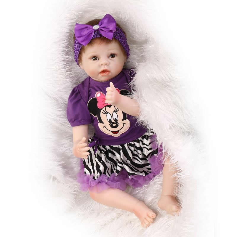 Silicone Reborn Doll Baby 22 Inch Lifelike Newborn Girl Babies Handmade Cloth Body Toy With Purple Dress Kids Birthday Xmas Gift 22 inch silicone reborn babies doll handmade newborn girl doll looking real baby reborns kids birthday xmas gift
