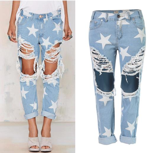 Super! Fashion Stars Print Plus Size Light Blue Boyfriend Jeans Femme Baggy Hole Ripped Destroyed Jeans For Women