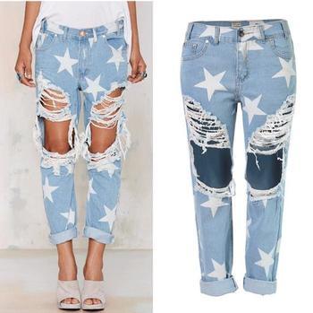 Super! Fashion Stars Print Plus Size Light Blue Boyfriend Jeans Femme Baggy Hole Ripped Destroyed jeans for women