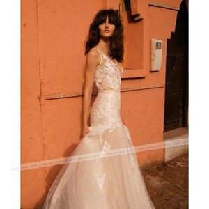 Image 3 - LORIE Mermaid Wedding Dress V Neck Appliqued Sexy Backless Lace Bride Dress Princess Boho Wedding Gown Floor Length