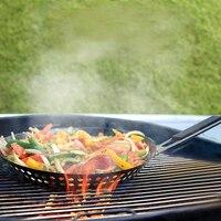 Антипригарное барбекю, гриль сковорода черная Складная ручка круглый гриль для пиццы сковорода барбекю овощи морепродукты тарелки для бар...
