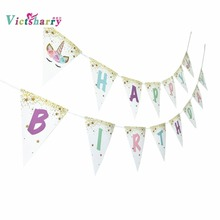 Happy Birthday Banner Unicorn Party Glitter Alphabet  For Decorations Kids and Supplies