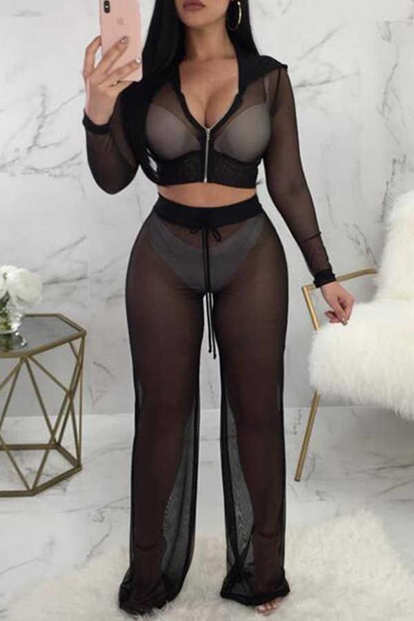 Mujeres Sexy de fiesta de noche de malla transparente pantalones Sexy caliente de las mujeres de playa de malla pantalones de mujer Sexy, Pantalones