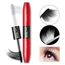 2 IN 1 4D Silk Fiber Lash Mascara Black Waterproof Volume Double Lengthening Curling Eye