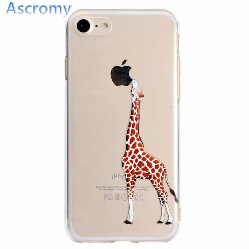 Ascromy For Iphone 7 Plus Case Giraffe Tpu Soft Silicone Transparent Protective Cover For Apple Iphone 8 6 S 6s X 5 5s Se Fundas For Iphone Cover For Iphone 6cover For Iphone 6s Aliexpress