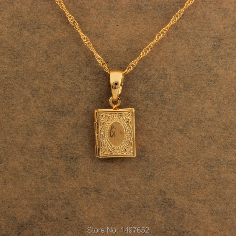 New fashion jewelry18k gold color choker pendant necklace allah new fashion jewelry18k gold color choker pendant necklace allah book locket pendants men women free shipping in pendants from jewelry accessories on aloadofball Gallery