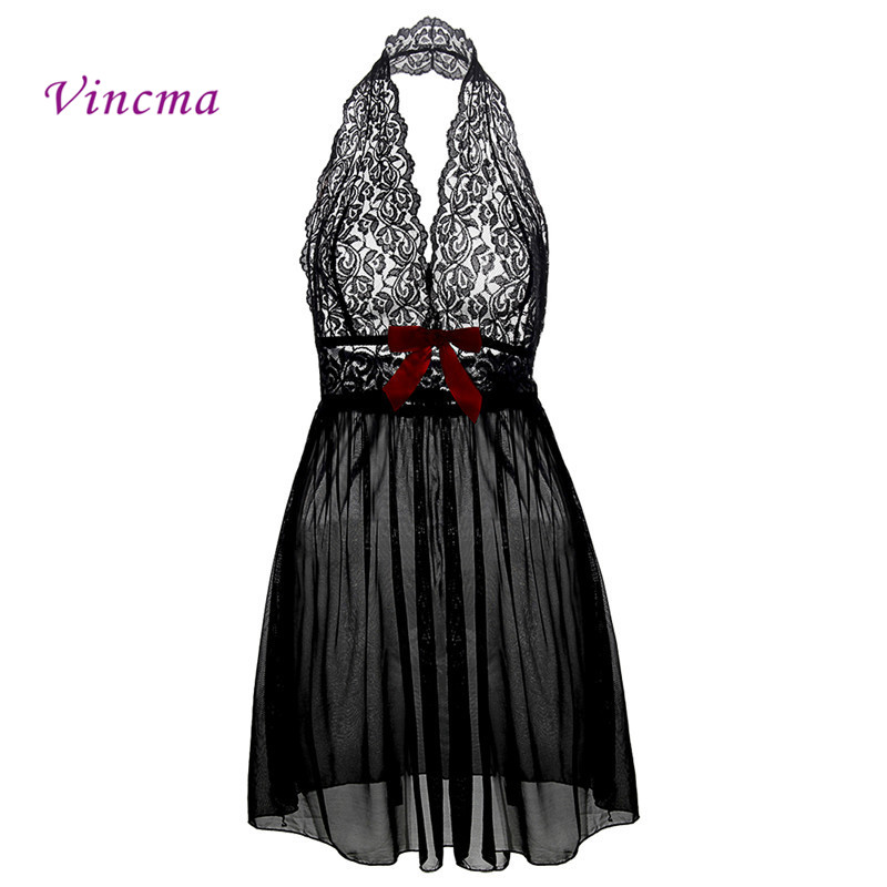 M L XL XXL 3XL 5XL 6XL Plus Size Deep V Neck Women Lace Sexy Lingerie Hot Erotic Bow Transparent Dress Porno Costumes Nightwear image