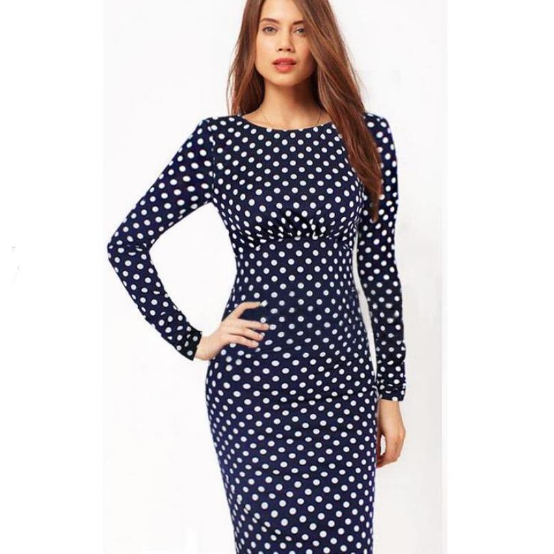 Retro Long sleeve dress three season dresses Womens Elegant New Color block Dot To Work Business Pencil Sheath Bodycon Dress BC