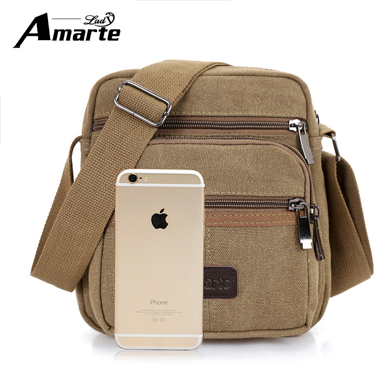 Amarte Men's Canvas Crossbody Bag New Arrival Men Travel Fashion Messenger Bag Zipper Single Shoulder Bags Vintage Male Bags vintage canvas travel shoulder bag men messenger bags fashion cover crossbody bag large capacity male multi function laptop bags