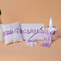 White and Lavender Bowknot Wedding Guest Book Pen Holder Ring Pillow Basket Set accessories Party Supplies(N5)