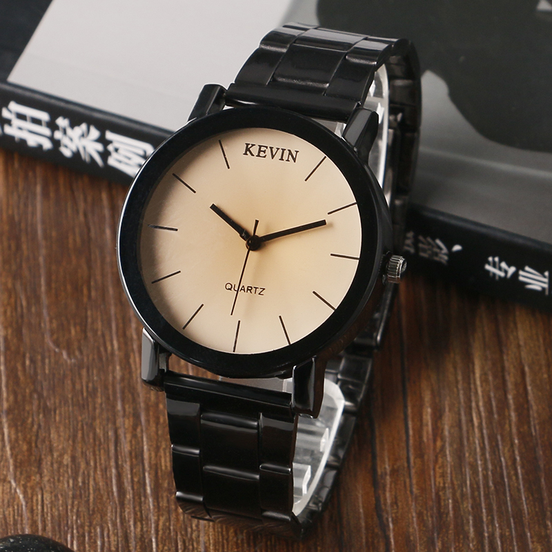 KEVIN 2016 Men Wrist Watches Stainless Steel Casual Women Black Band Quartz Watches Simple Time Clock Relojes reloj hombr купить дешево онлайн