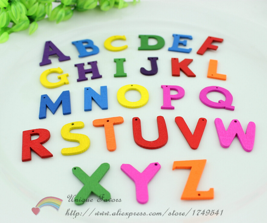 260pcs Mixed Colors Painted Wooden Letters A-Z Bakelite Wood Alphabet Driled Button for Scrapbooking,Language Learning,DIY Craft ...