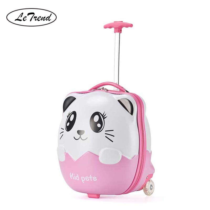 LeTrend Cute Cartoon Children Rolling Luggage Spinner Student Suitcase Wheels 16 inch Carry Ons Kids Trolley