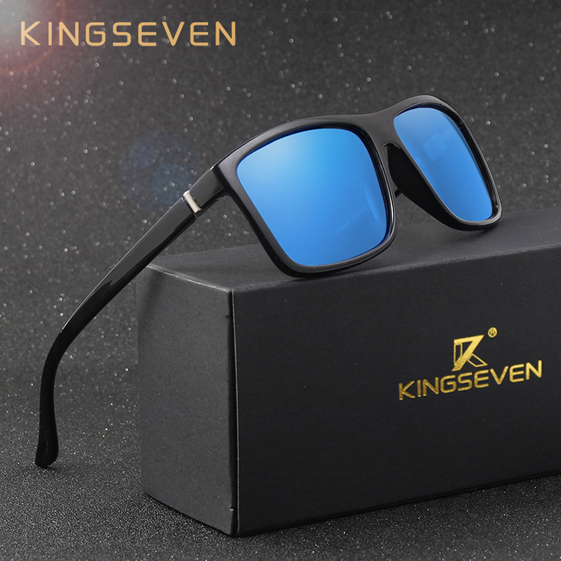KINGSEVEN Merek Gaya Vintage Kacamata Pria UV400 Klasik Laki-laki Persegi Kacamata Mengemudi Kacamata Perjalanan Unisex Gafas Oculos S730