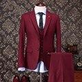 Moda dois botões escuro do noivo Red smoking Groomsmen ternos Prom noivo de casamento dos homens ( Jacket + Pants + Vest + Tie ) NO : 1180