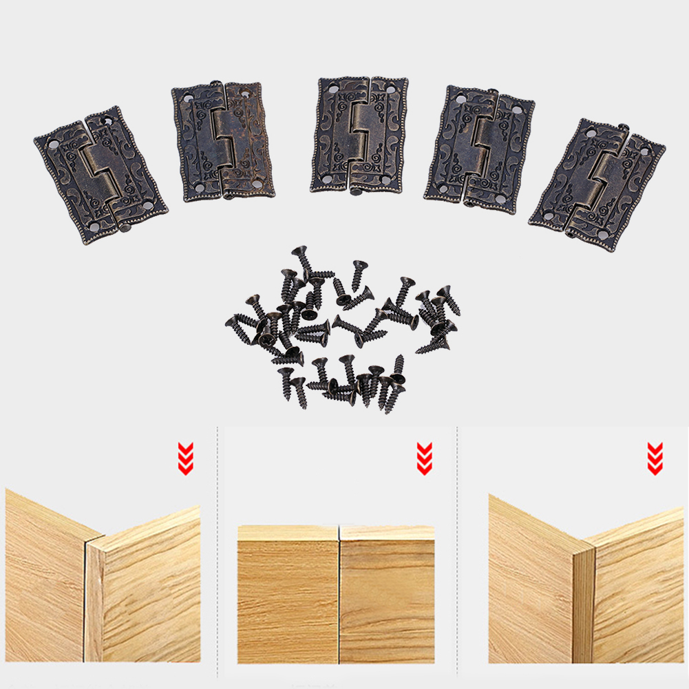 10pcs 37X24X2MM Cabinet Door Butt Hinges Mini Drawer Bronze Decorative Mini Hinges Hand Tools Hardware For Furniture +Screws 10pcs cabinet door butt hinges mini drawer bronze decorative mini hinges diy accessories small wooden box decoration