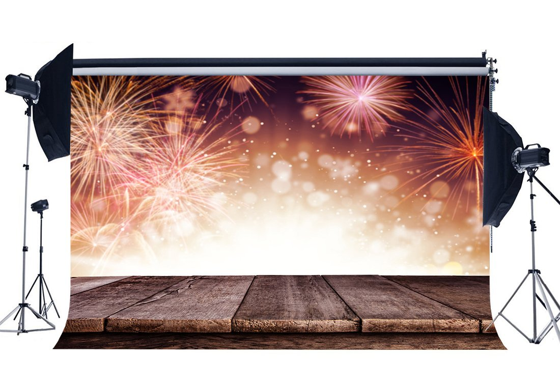 Photography Backdrop Merry Christmas Fireworks Vintage Stripes Wood Floor Bokeh Xmas Backdrops Happy New Year Background-in Photo Studio Accessories from Consumer Electronics