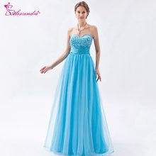 Alexzendra Tulle Light Blue Sweetheart Beaded Prom Dresses Customize Simple  Long Party Dresses Plus Size 8671105eaaf2