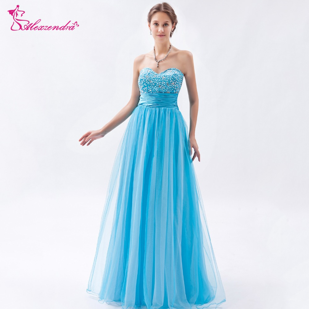 Alexzendra Tulle Light Blue Sweetheart Beaded   Prom     Dresses   Customize Simple Long Party   Dresses   Plus Size