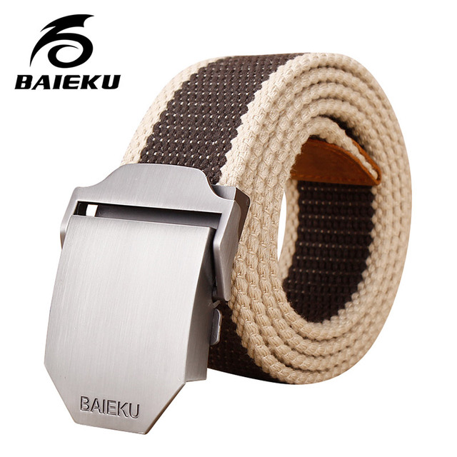Men canvas belt Smooth belt buckle belt male leisure jeans fashion belts