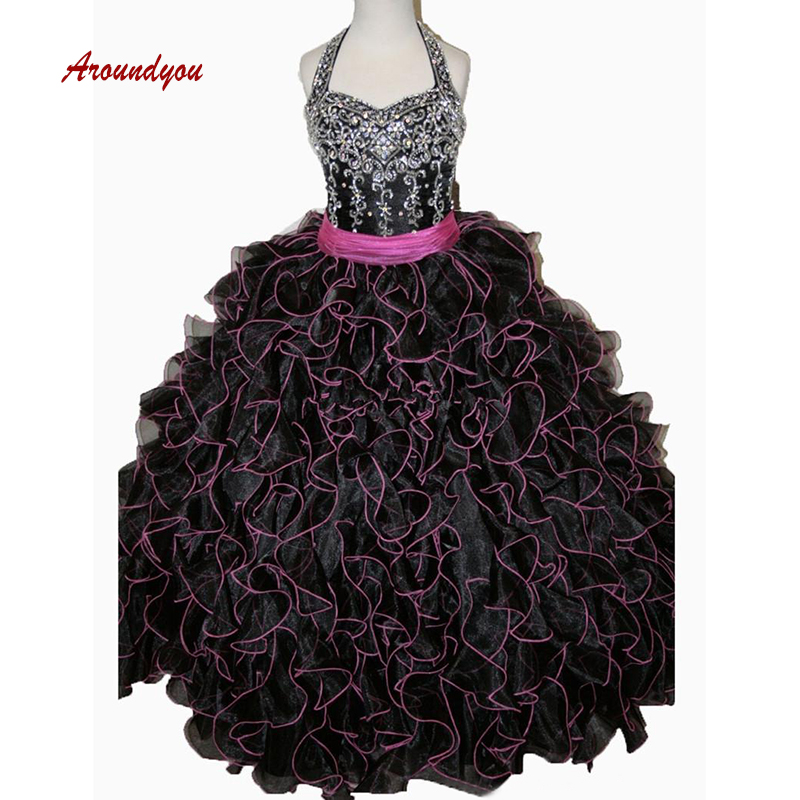 Black Luxury   Flower     Girl     Dress   for Party and Weddings Crystals Pageant First Holy Communion   Girls     Dress   for   Girls   Gown 2019