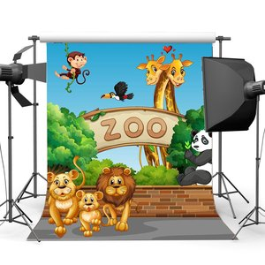Image 1 - Animals Zoo Backdrop Cartoon Backdrops Tiger Lion Monky and Giraffe Green Trees Blue Sky Sweet Background