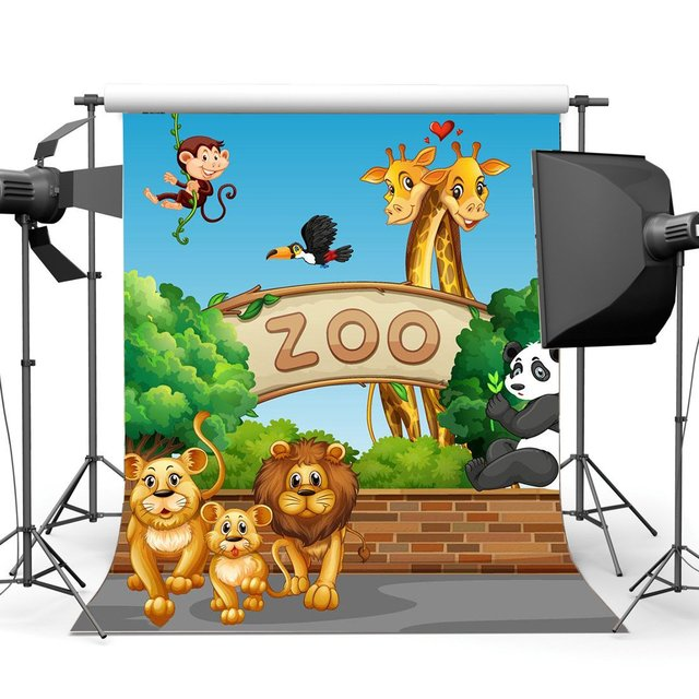 Animals Zoo Backdrop Cartoon Backdrops Tiger Lion Monky and Giraffe Green Trees Blue Sky Sweet Background