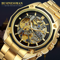 Fosining Men Latest Watch Stainless Steel Bracelet Skeleton Automatic Mechanical Wrist Watch FSG8130M4G1
