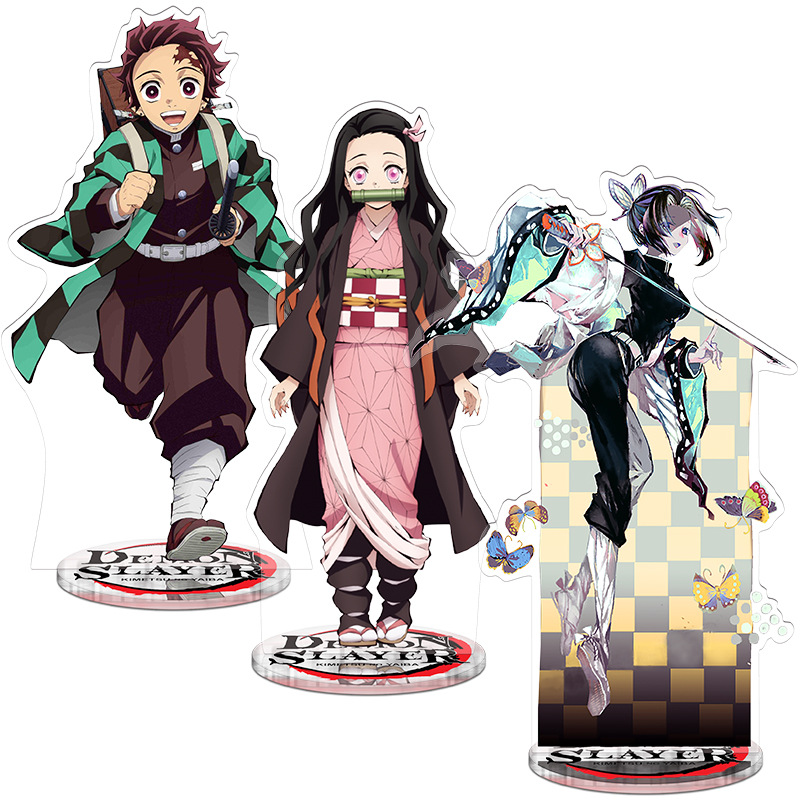 Demon Slayer: Kimetsu No Yaiba Kamado Tanjirou Kamado Nezuko Plastic Action Figures Toy Anime Double Side Collection Stand Plate