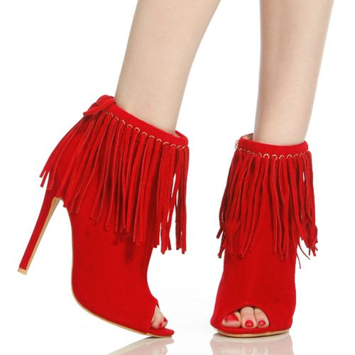 Red brown black suede gorgeous side zipper short fringe boots open toe nice ankle drape tassel dress booties dropship black suede mesh short boots high heel open toe slim fit patchwork breahthable nice dress pumps dropship party shoes