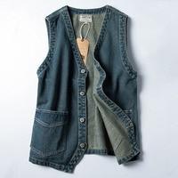 Japanese Denim Mens Vest Vintage Blue Jeans Sleeveless Jacket Youth Fashion Outwear Casual Streetwear Retro Cotton Cowboy Vests