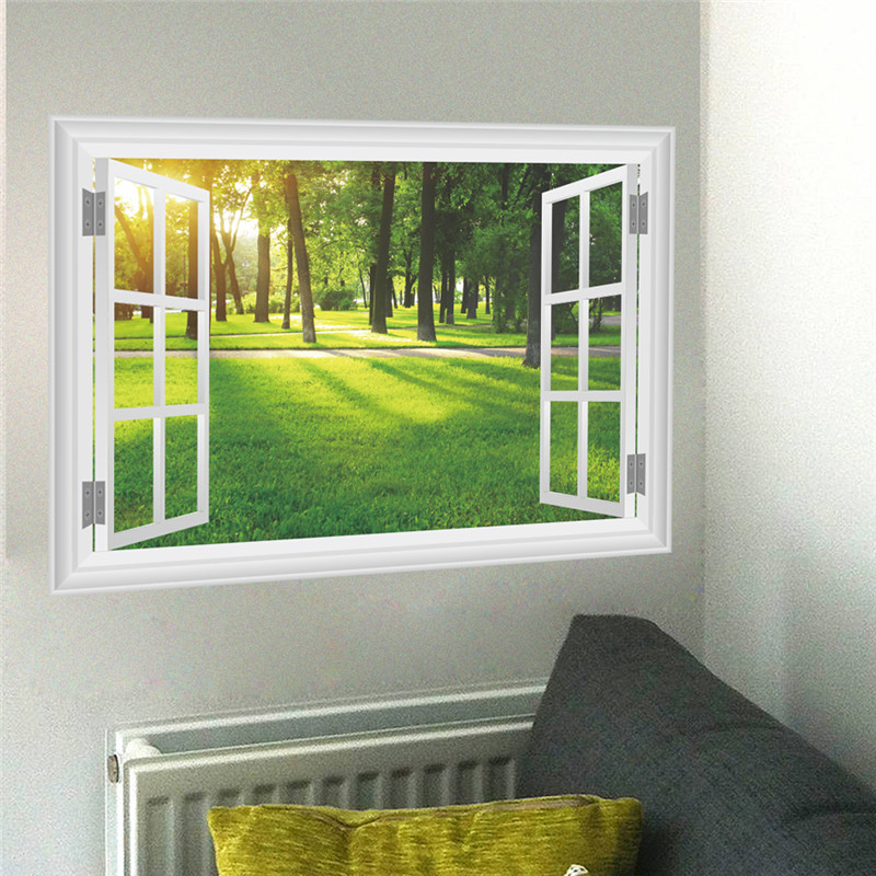Nature Landscape View Wall Sticker Decal Home Decor Living Room Bedroom 3D Window Wall Decals Wall Art Mural Poster