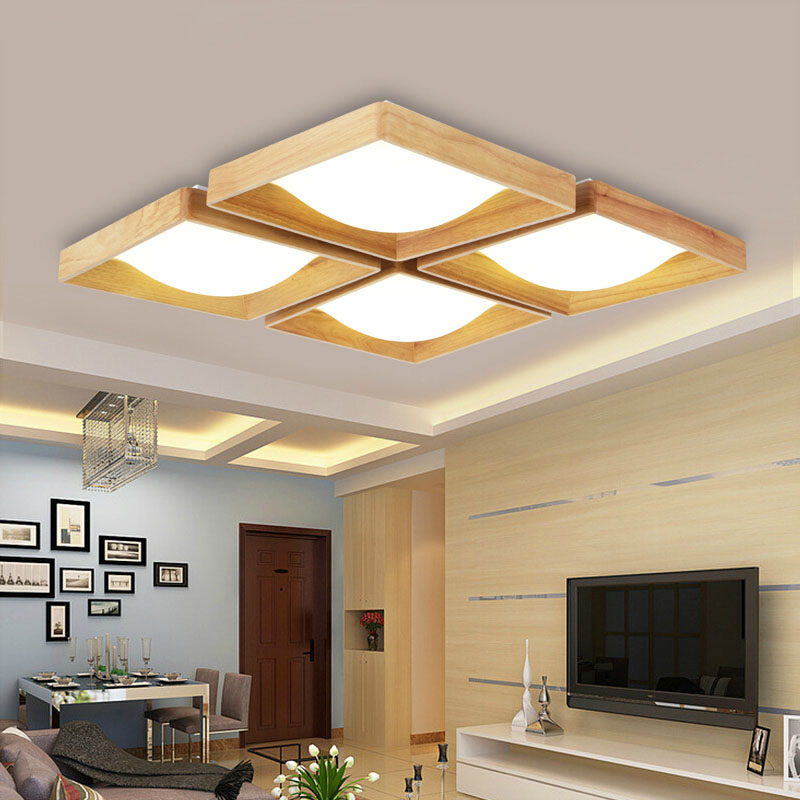 Modern OAK wood led ceiling lights fixture home deco living room foyer acrylic ceiling lamp lamparas de techo luminaria teto
